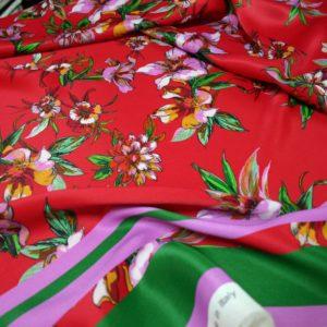 tessuto viscosa alta moda fantasia floreale fiori rosa